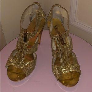 Michael Kors Gold Glitter Strappy Zippered Heels